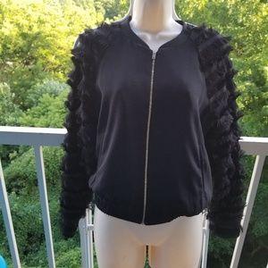 Zara Black Fringe Sleeve Full Zip Jacket